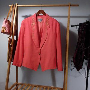 Coral Gold Embroidered Western Studded Blazer L